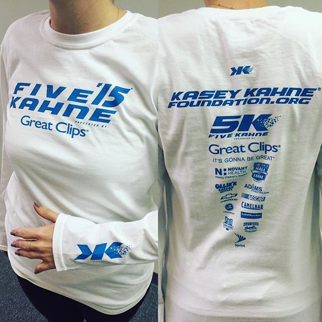 Register for the @kaseykahne foundation 5k this weekend.  They are committed to  raising awareness and funds for charities supporting chronically ill children and their families.  Not to mention you'll get one of these sweet tees by the @dunstangroup. #dunstangroup #screenprint #tshirt #charlotte #charlottenc #charityevent #FiveKahne #kaseykahnefoundation