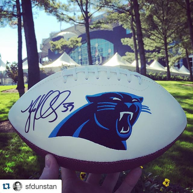 #Repost @sfdunstan ・・・Thank you @panthers for the @lkuechly signed football!! So appreciative of your support for the @cookies4kids #Chefs4Kids event.  We're certain it will bring big bucks as a top auction item. #cookiesforkidscancer #LIBSTRONG #carolinapanthers #winning #pantherpride