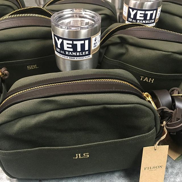 Congrats @kylanl & @jsarmtackle! Wishing you a great wedding day and hoping your groomsmen are happy with their new customized  #Filson dopp kits! #kylanandjustin #dunstangroup #embroidery #groomsmengift #pawleysisland