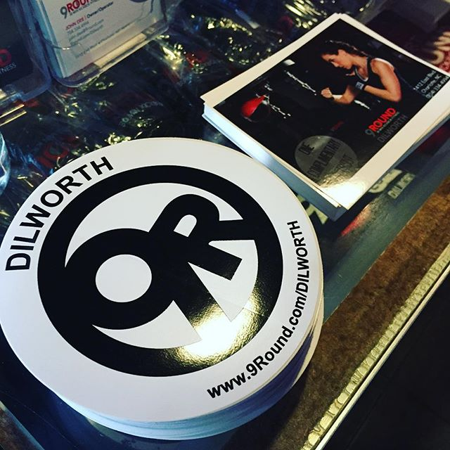 These @9rounddilworth stickers will certainly get them noticed around #dilworth and beyond... Stickers continue to be a popular and effective part of any advertising campaign.  Great for the wallet as well!  #dunstangroup #9rounddilworth #bumpersticker #charlotte #nc