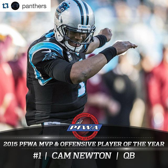 Congratulations @cameron1newton!  #keeppounding #MVP#Repost @panthers・・・has been named the 2015 NFL MVP & @cameron1newton has been named Offensive Player of the Year by the Pro Football Writers of America!