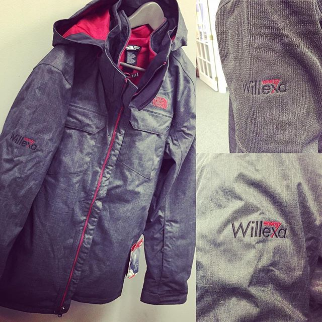 North Face 3-in-1 embroidered jackets for #willexaenergy just in time for the winter armageddon.  #northface #badassjacket #embroidery #dunstangroup