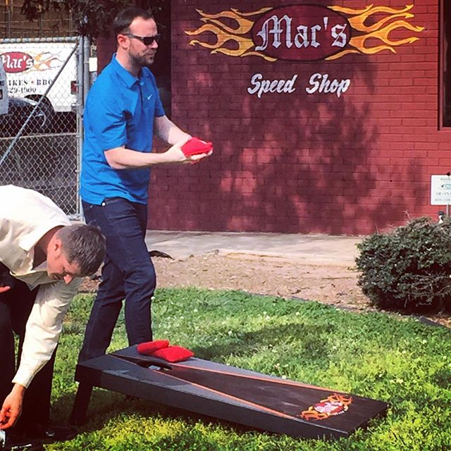 @macspeedshop team enjoying their totally custom #cornhole set!  Great day to be outdoors and enjoy some #bbq.  #macsspeedshop #customizedcornholeset #customeverything #dunstangroup