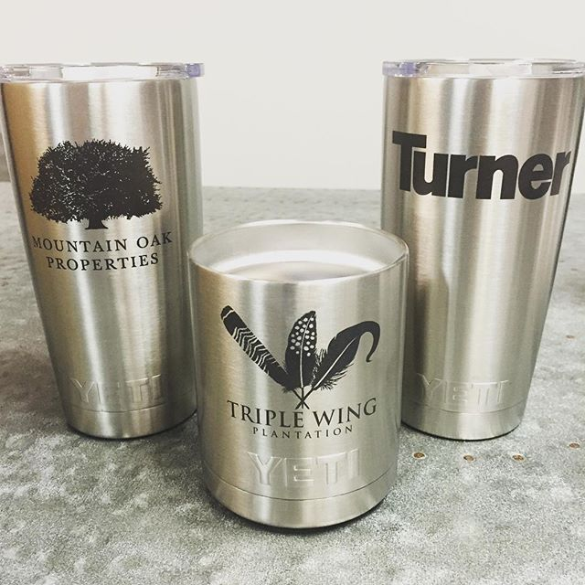 Hot off the laser and proof of the detail we can capture in these great logos.  #turnerconstruction #mountainoakproperties #triplewingplantation #yeti #dunstangroup