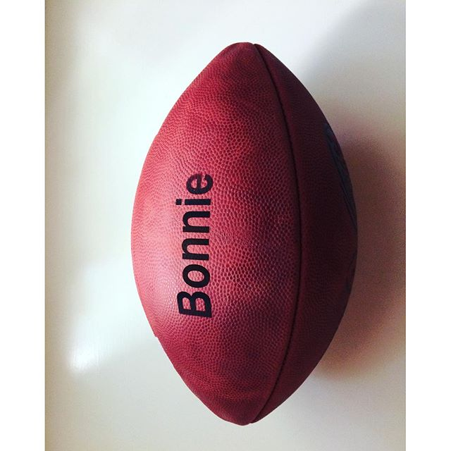 When Bonnie, NFL client asks if we can customize a Wilson football... Yep.  #panthersfootball #dunstangroup #football