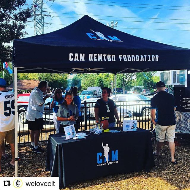 "Awesome mission @every1matters_cnf!  Tent & table throw turned out great! #camnewtonfoundation #biasedbutreallythough #dunstangroup #Repost @weloveclt・・・At the @roaringriot we like to ""Tailgate with a Purpose!"" That's why all the proceeds from our tailgates go to the Cam Newton Foundation! #Panthers #CarolinaPanthers #WeLoveCLT #DoYouRiot #RoaringRiot #KeepPounding"