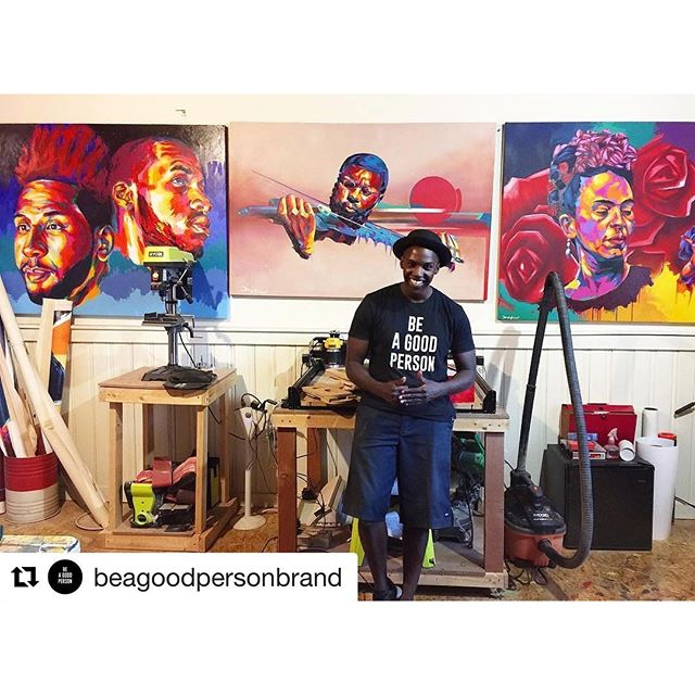 We need more of this @beagoodpersonbrand especially in our backyard this week... #charlotte #lovenothate #positivevibesonly #Repost @beagoodpersonbrand・・・Always appreciative of the time we get to spend with local Denver artist - @Detour303 Not only has he genuinely supported our movement to the fullest, he continues to blow us away with collaborative ideas he has for the future & we're more than excited to share them with you as they come to life.Keep a lookout for this guy, his artistic styles deserves to take over city streets and canvases all over the world. #beagoodpersonbrand #themostbasicconcept #dailyreminder #positivevibesonly #detour303