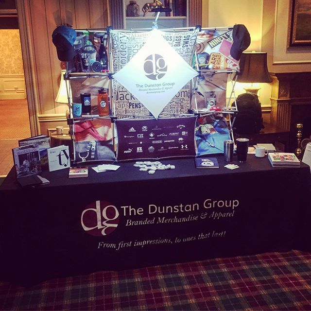 Having some fun this a.m.! Need assistance with your next display?  This option is one of many creative ways to add height to your table and super easy for one person to manage setting up.  #dunstangroup #getnoticed #branding