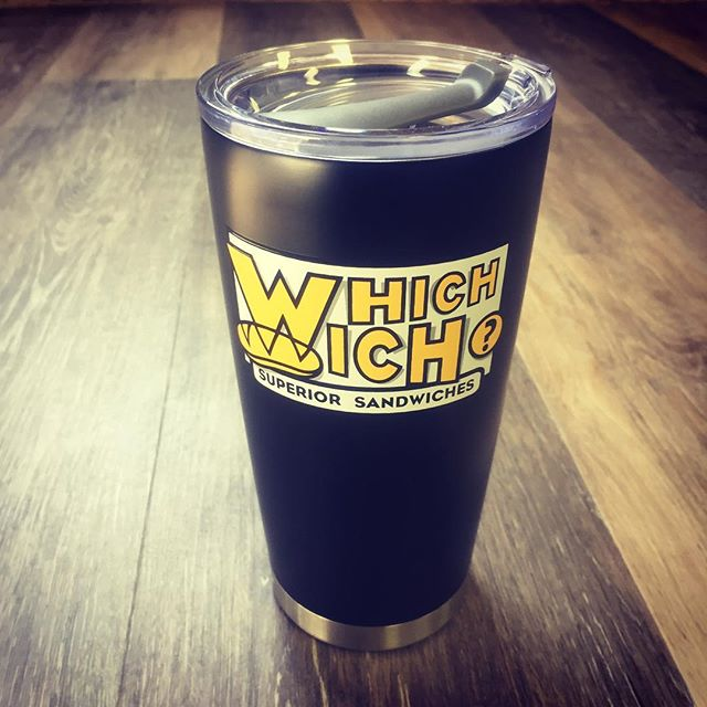 Great looking tumbler @cltwhichwich!  Superior Sandwhiches and unique ordering makes our friends' place, #whichwich a great stop for your next meal.  #drinkware #elevateyourbrand #grababag