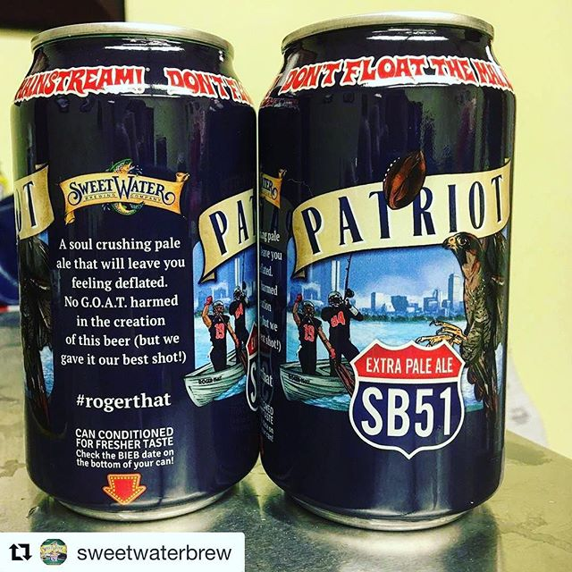 Sweetwater Brewing company turning a loss into a win with this soul crushing pale ale! #AlwaysBranding#repost @sweetwaterbrew with @repostapp・・・it's the bet that keeps coming back to bite us in the ass with @SamuelAdamsBeer. We have 100 of these god awful cans at brewery tours for souvenir beer. Hopefully today only.