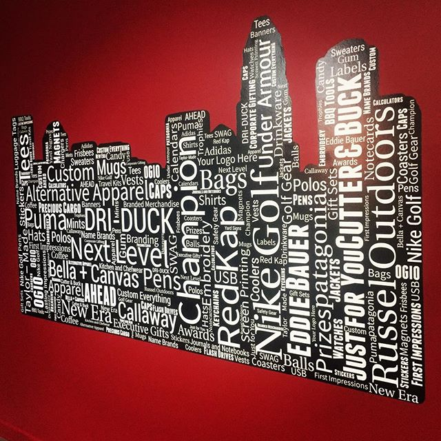 Conference room is coming together and our newest addition is a wall graphic (yes another product offered by DG)! Thanks for the slick word maze @melissa.brokaw and @wellrunmedia!! ...#dunstangroup #charlotte #nc #sticker #productsandbrands #love
