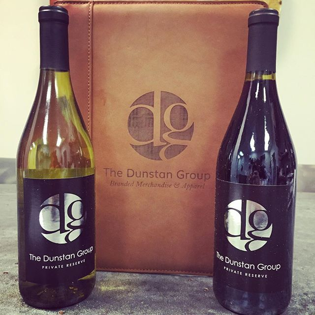 Both get better with age.  #leather #vino #customlabeledwine #dunstangroup #holidaygifts #branding