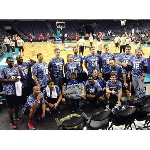 The #metlife #hoopsforheroes team.  We may be biased but you were the best looking team at the @charlottehornets 's @timewarnercablearena !  #augustasportswear #teamuniforms #screenprintedtees #customeverything  #dunstangroup