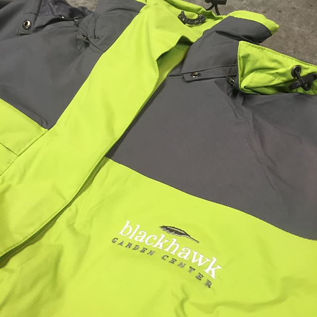 The @blackhawkhardware Garden Center peeps are going to be looking sharp!  #blackhawkhardware #winterapparel #jackets #dunstangroup #embroidery