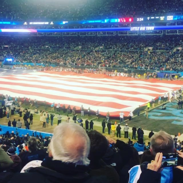 """So proudly we hail'd""!! keeppounding @panthers!! #america #nfcchamps #superbowlfifty #soproud #littlebigtown"