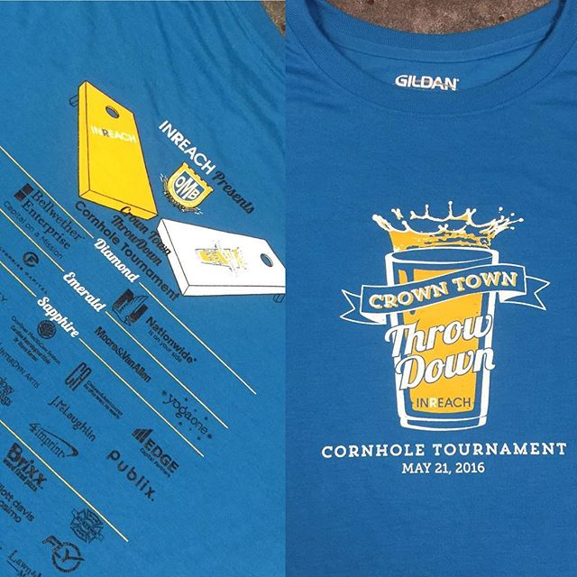 If you're looking for fun tomorrow, hit the @inreachnc #crowntownthrowdown cornhole tourney at @oldemeckbrew!  #customtees #cornholetournament #dunstangroup