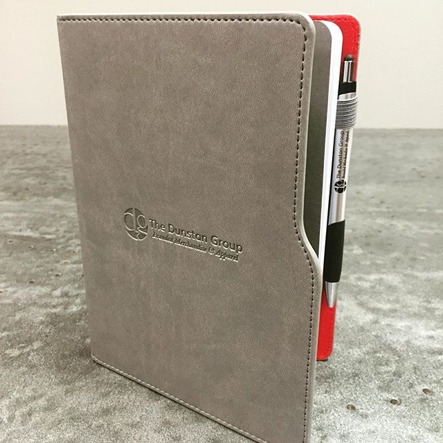 Latest round of #dunstangroup journalbooks and stylus pens looking sharp.  Holler and we'll be sure to get one in your hands!  #brandedmerchandise