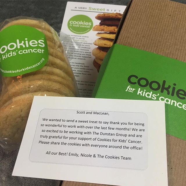 "@cookies4kids, you made our day today!! Thank you so much for the ""sweet"" gift, yes pun intended!  #beagoodcookie #cookiesforkidscancer #Fcancer #cookie #dunstangroup #powerfulpartnerships"
